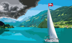 boat with Swiss flag