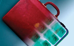 red briefcase containing money