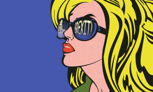 pop art woman with the word Brexit reflected in her sunglasses lens