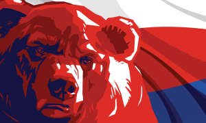 bear on russian flag illustration