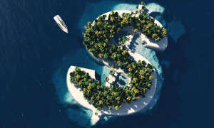 island in shape of dollar