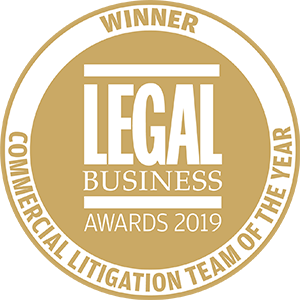 Winner of Legal Business Awards 2019: Commercial Litigation Team of the Year