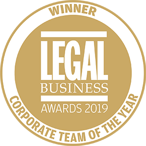 Winner of Legal Business Awards 2019: Corporate Team of the Year