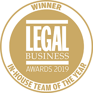 Winner of Legal Business Awards 2019: In-House Team of the Year