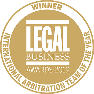 Winner of Legal Business Awards 2019: International Arbitration Team of the Year