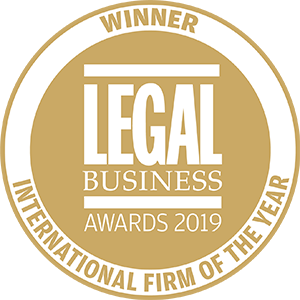 Winner of Legal Business Awards 2019: International Firm of the Year