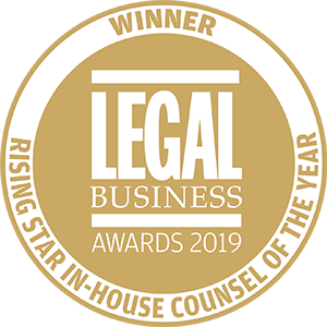 Winner of Legal Business Awards 2019: Rising Star In-House Counsel of the Year