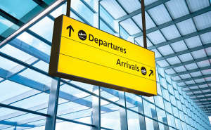 Airport arrivals/departures sign