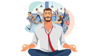 meditating businessman in hectic office