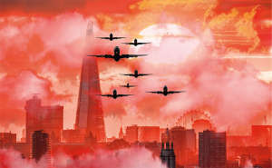 City with red sky and planes