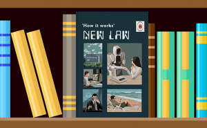 Book on shelf: 'How it works - New Law'