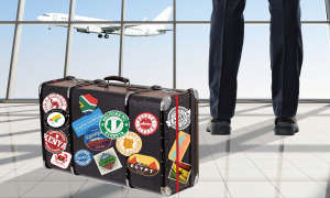 suitcase with African stickers