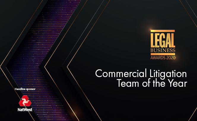 Legal Business Awards 2020 – Commercial Litigation Team of the Year